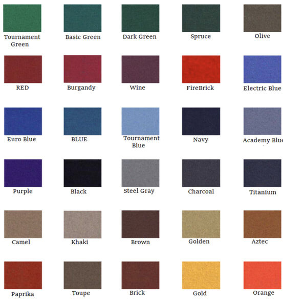 felt color options for pool table